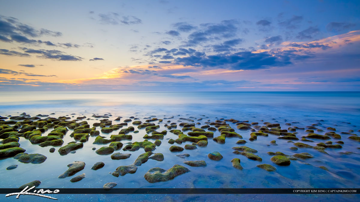 Smooth Ocean with Rocks at Beach Multi Panel Wall Art