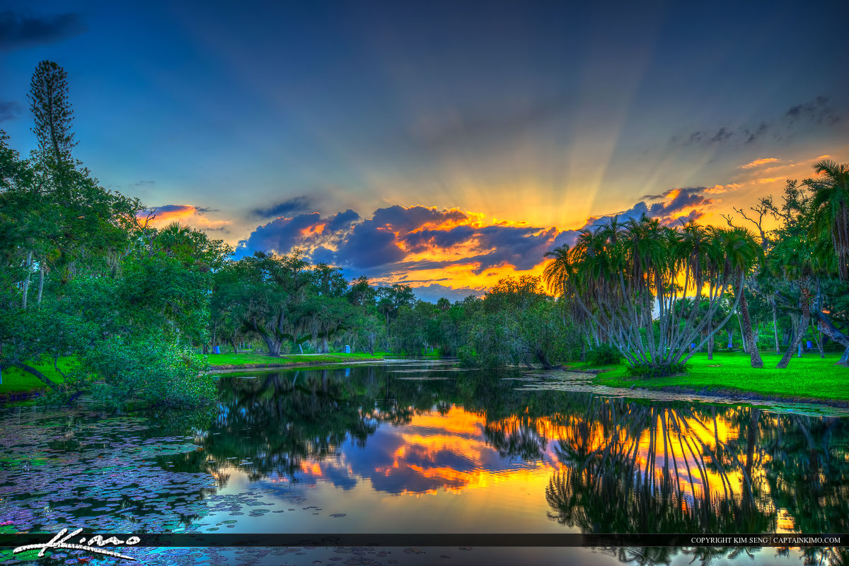 Sunset Over Lake at White City Park Fort Pierce Florida