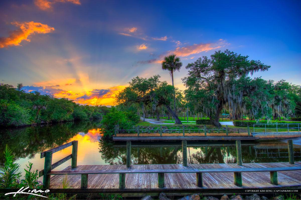 White City Park Boat Ramp at Sunset Fort Pierce Florida