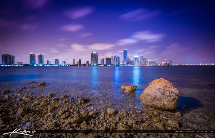 Miami Cityscape at Night with City Lights