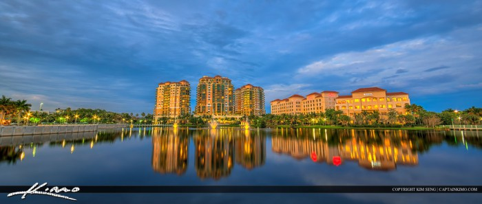 Palm Beach Gardens Downtown Cityscape at Lake