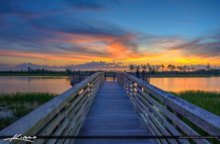 Watching the Sunset at Pier in Pine Glades Jupiter Florida
