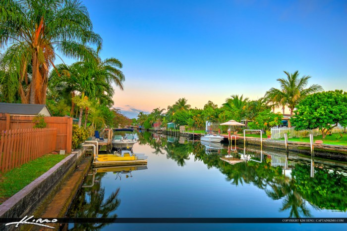 Homes along Canal in Hollywood Florida