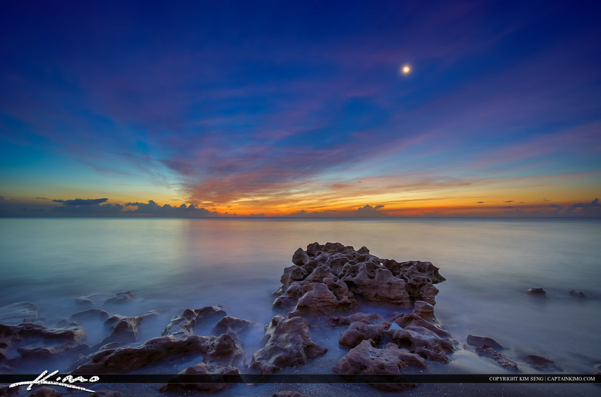Early Morning at the Beach Smooth Ocean Moon Rise