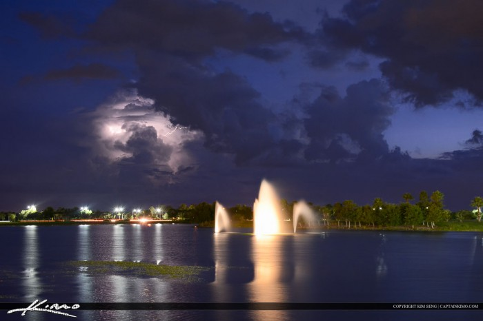 Lightning Storm at Water Fountain Tradition Square Port St Lucie