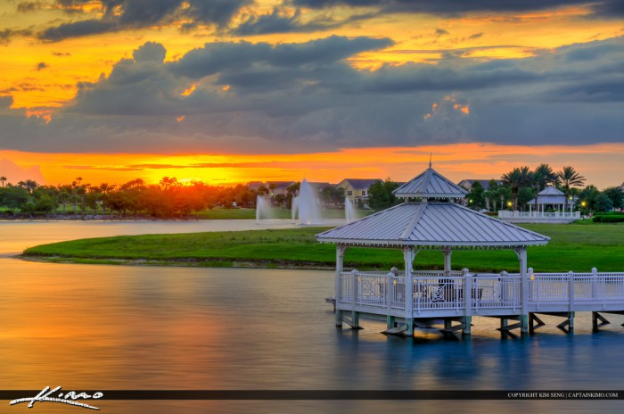 Gazebo at Sunset at Tradition Lake in Post St. Lucie