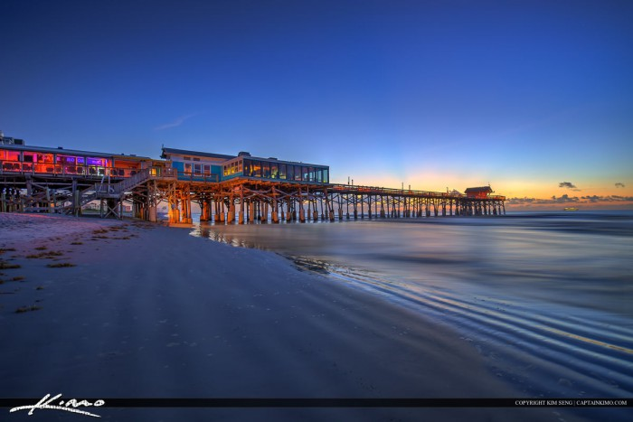 Cocoa Beach Pier at Beach Before Sunrise