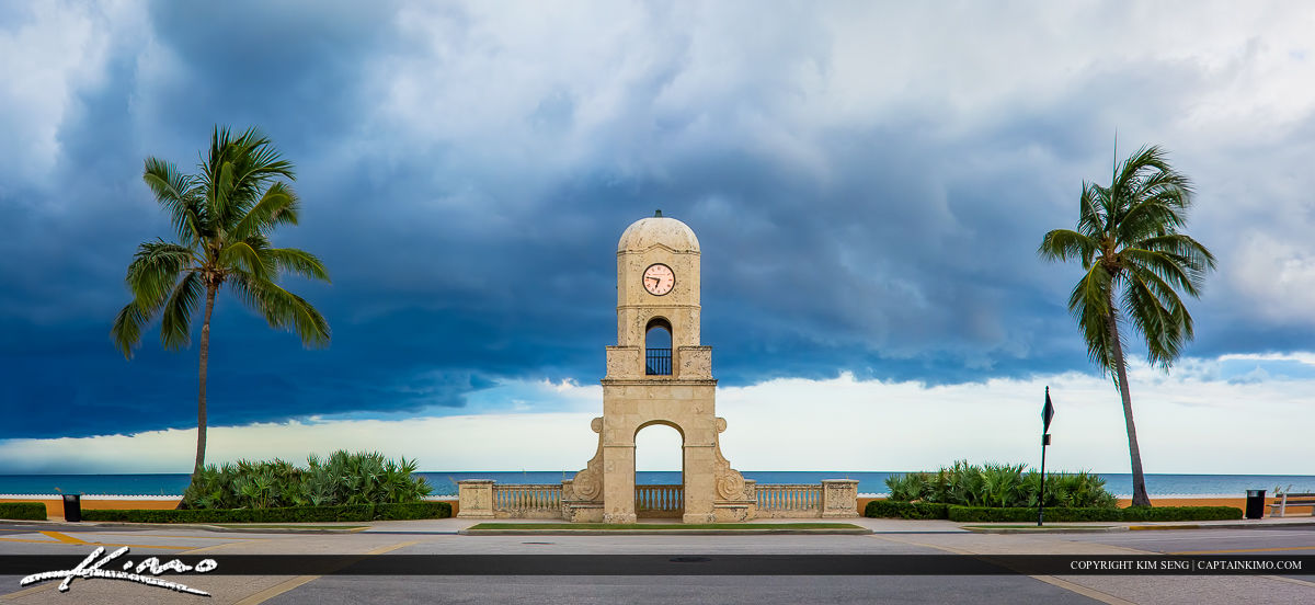 Worth Avenue Clock Tower Palm Beach Island Storm