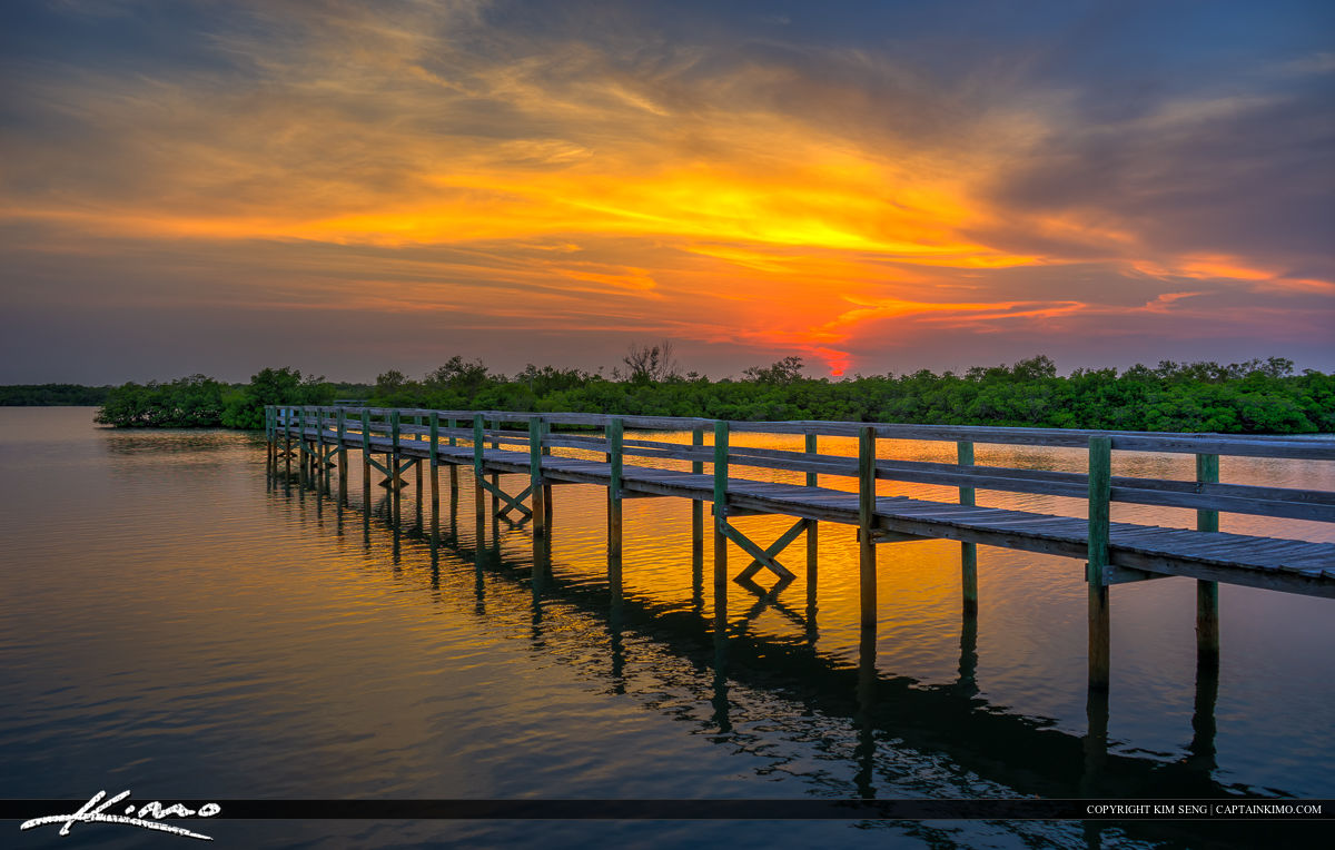 Fort Pierce Sunset at Pier along Indian River Lagoon