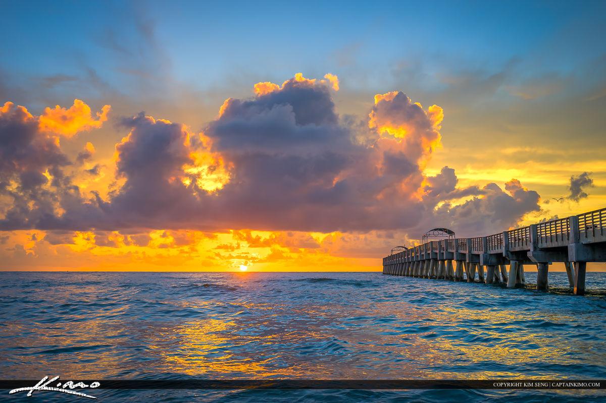 Lake Worth Fishing Pier Sunrise Over Atlantic Ocean