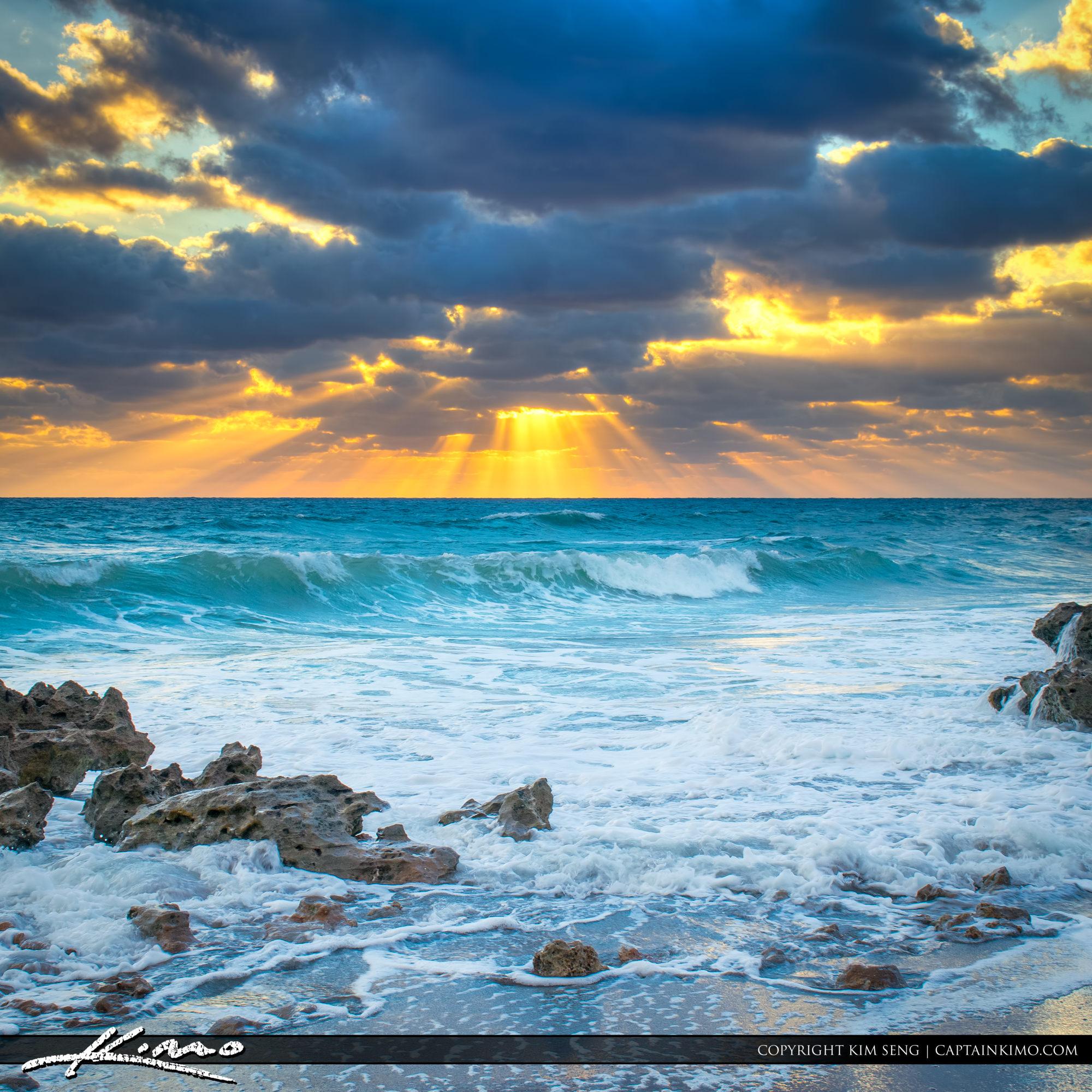Sunrays Over Ocean at Florida Beach