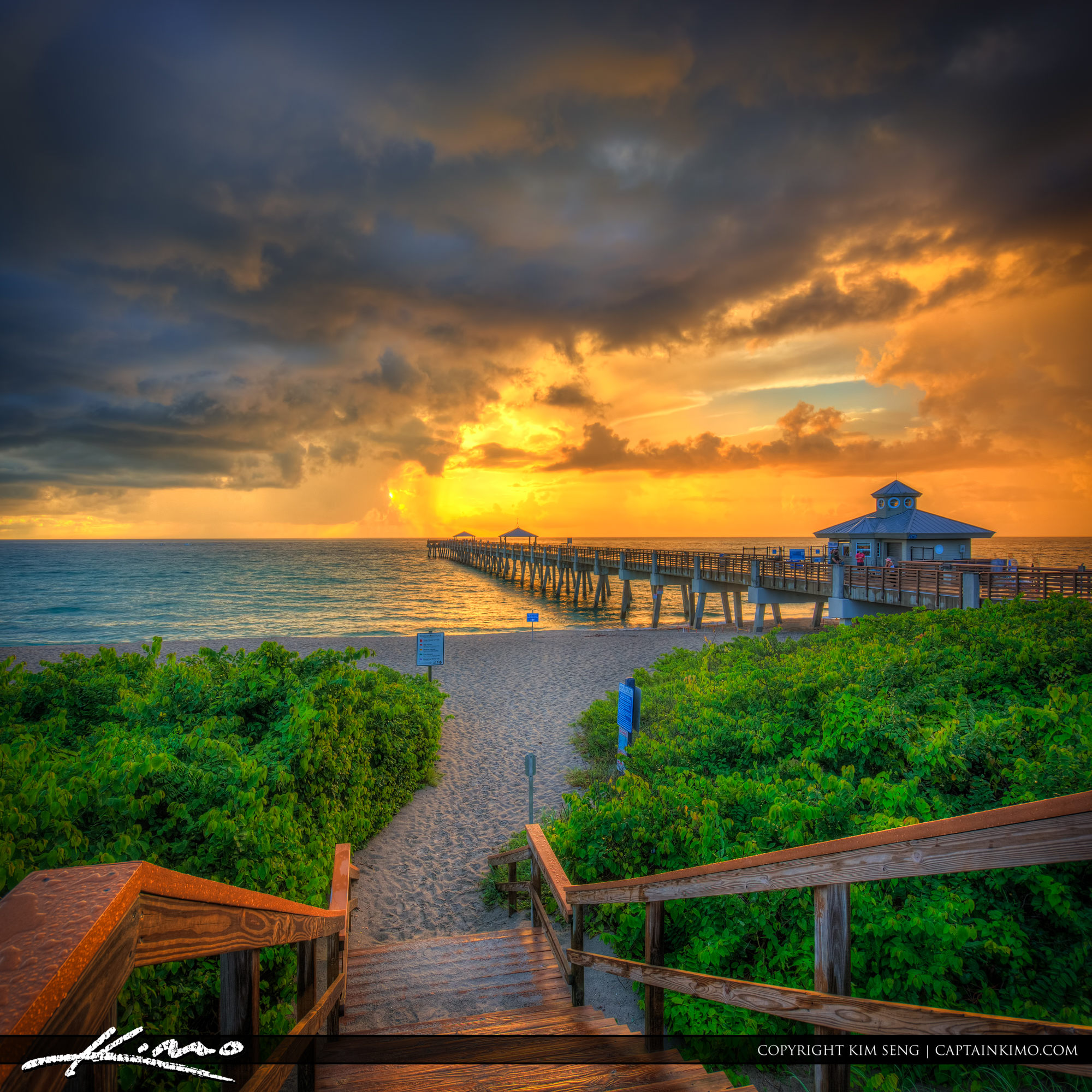 Juno Pier Sunrise Stormy Morning
