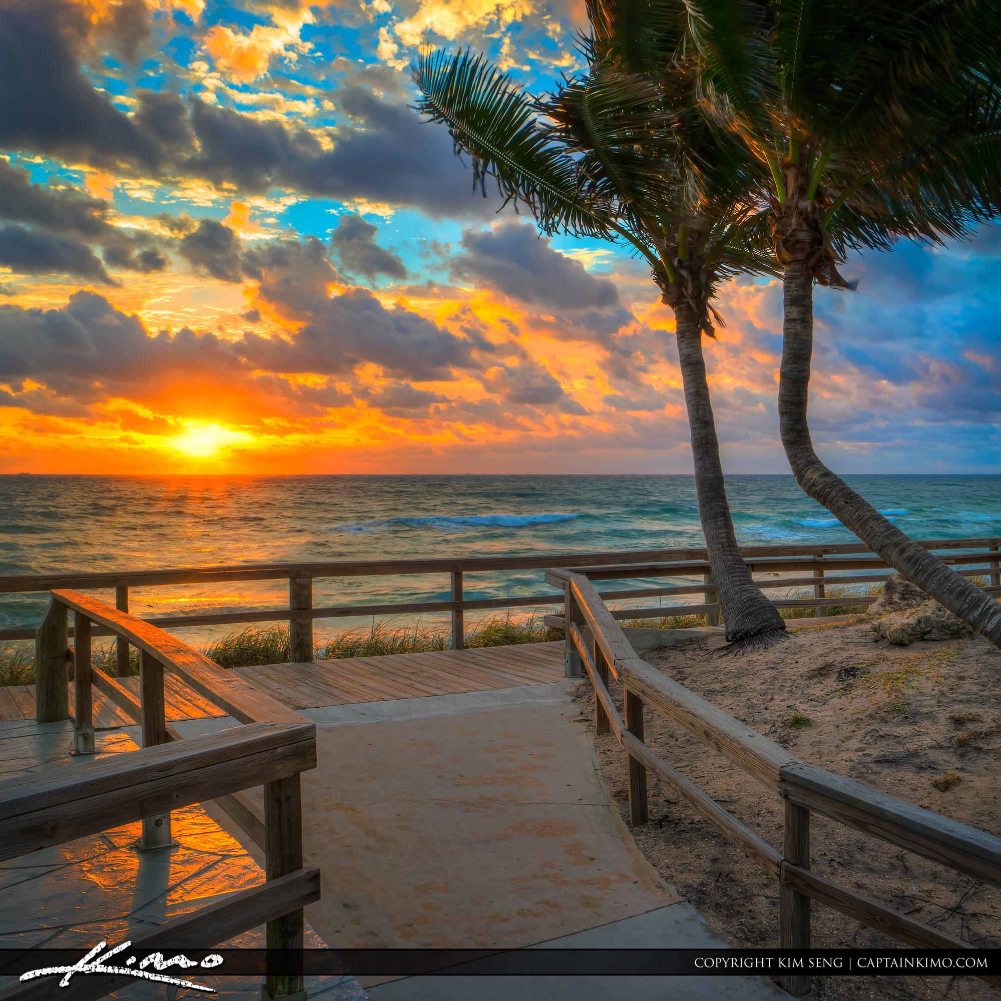 Lantana Beach Sunrise With Coconut Trees  U2013 Hdr Photography