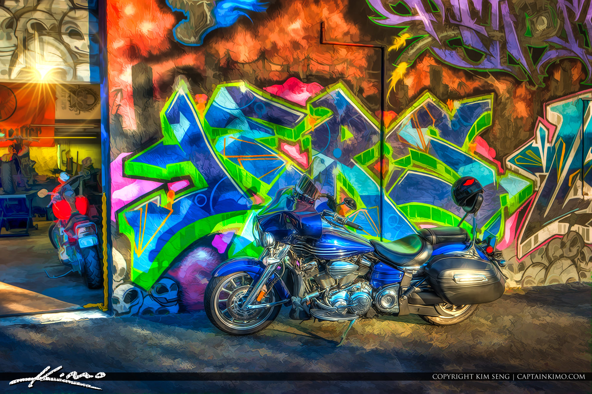 Motorcycle with Graffiti Art West Palm Beach