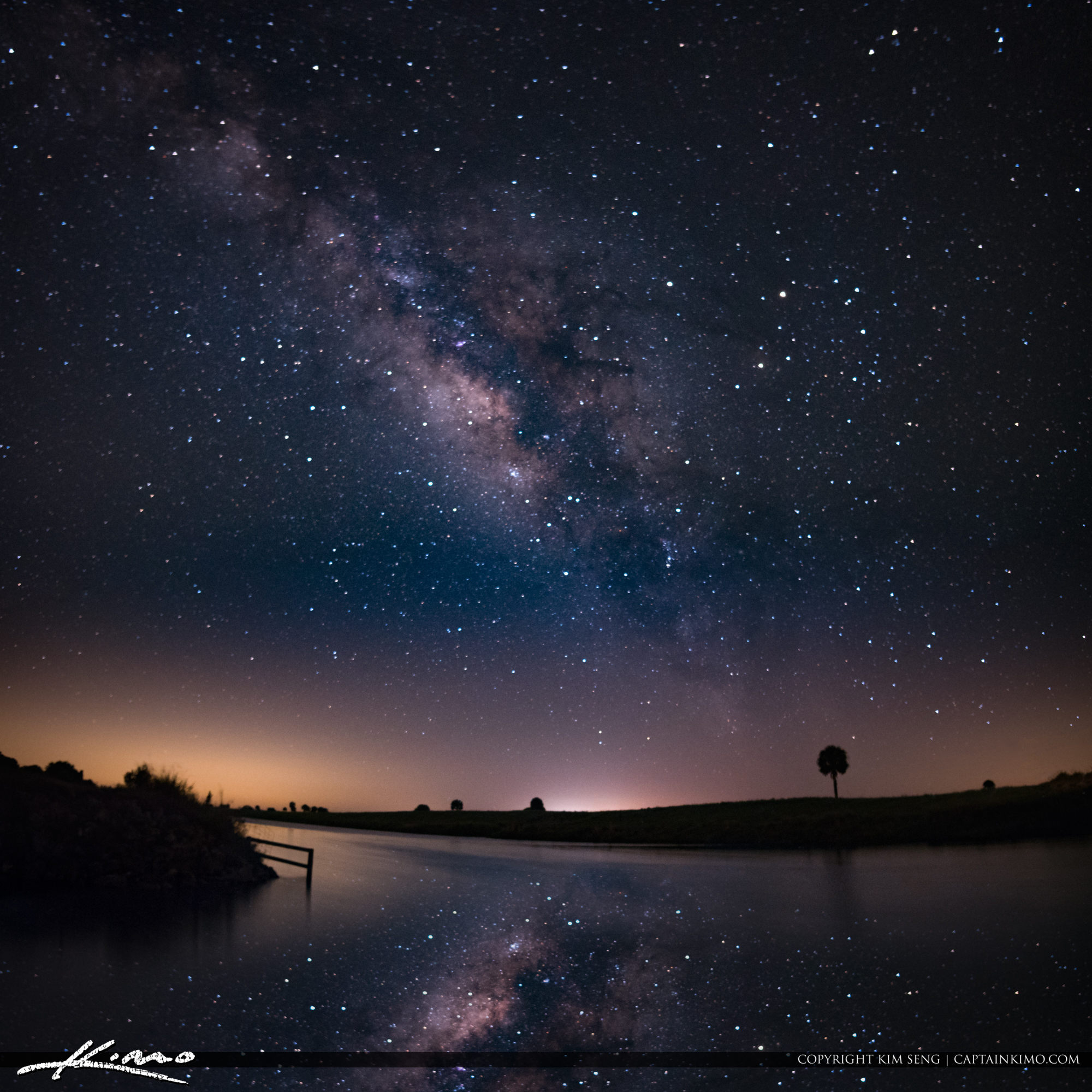 Milkyway Over West Okeechobee Florida at Small Lake