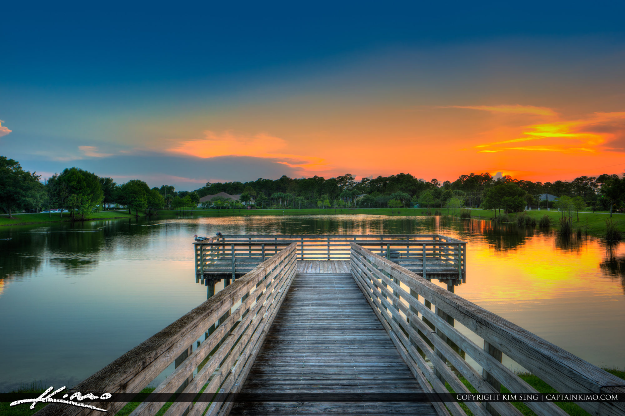 Sunset over Lake at the Acreage in Loxahatchee Florida