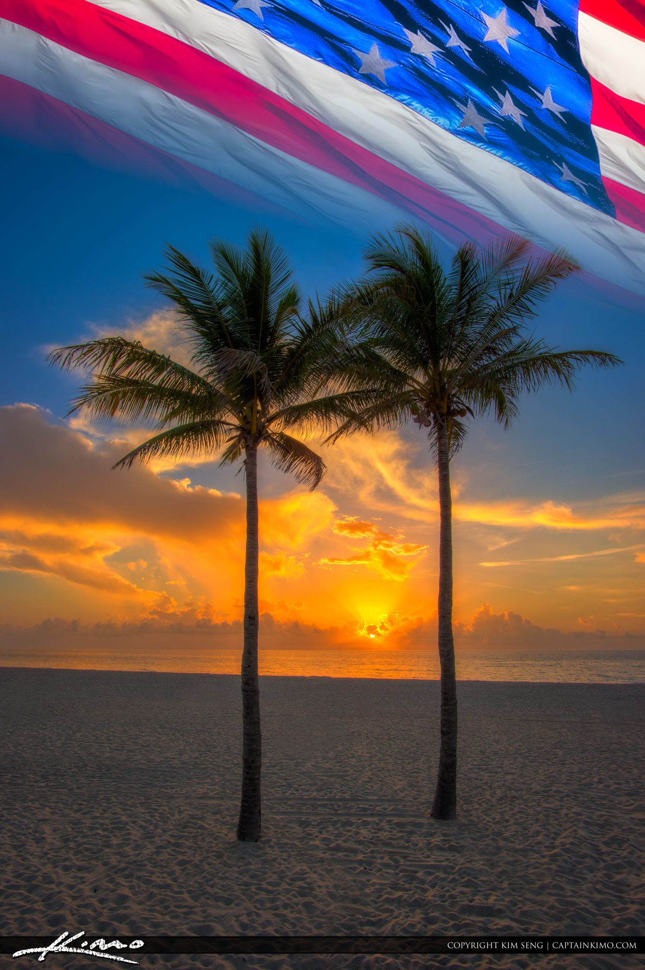 Fourth of July Sunrise Florida Beach and Flag