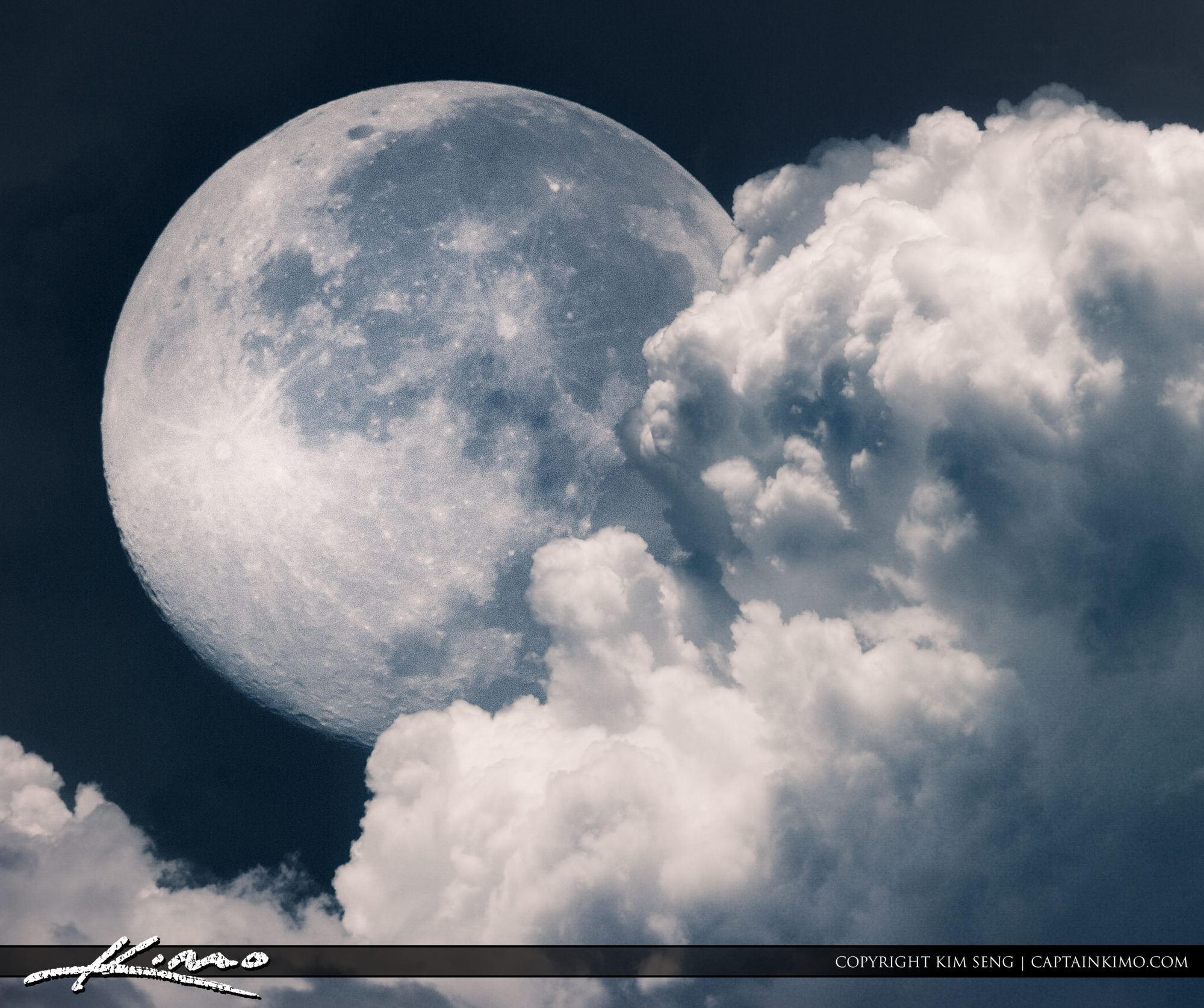 Moon Setting Behind Clouds by Captain Kimo