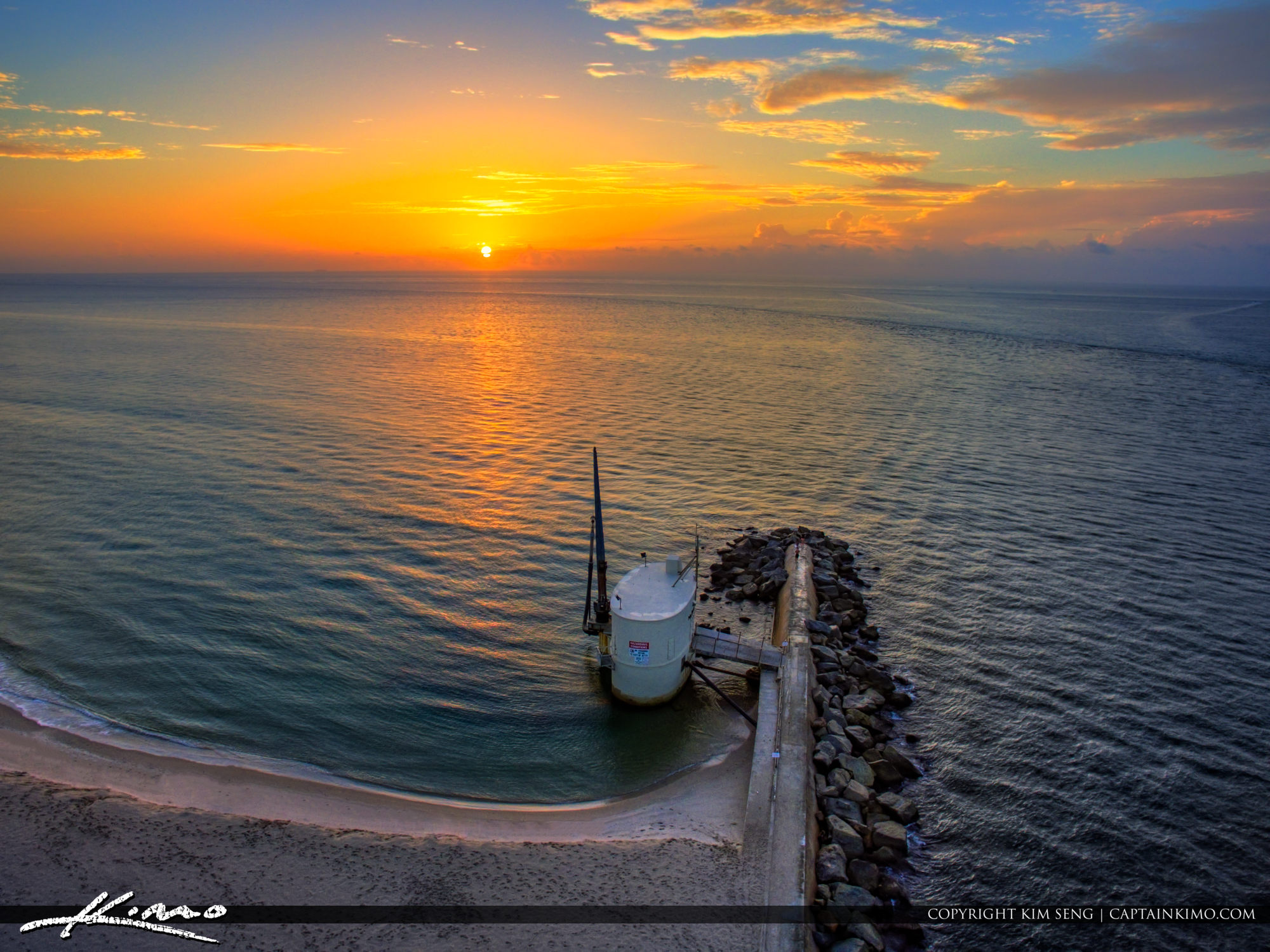 Palm Beach Inlet Sunrise Pumphouse from Above