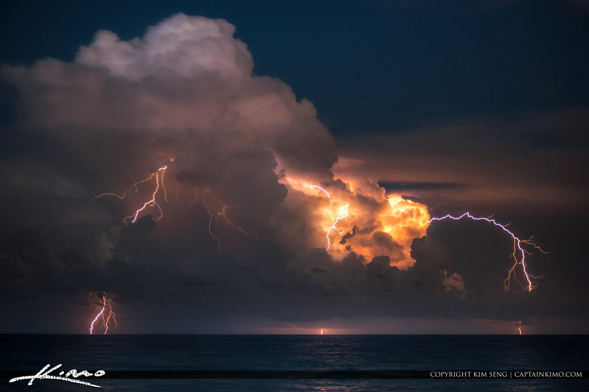 Lightning Bolts Over the Ocean at Loggerhead Park Juno Beach
