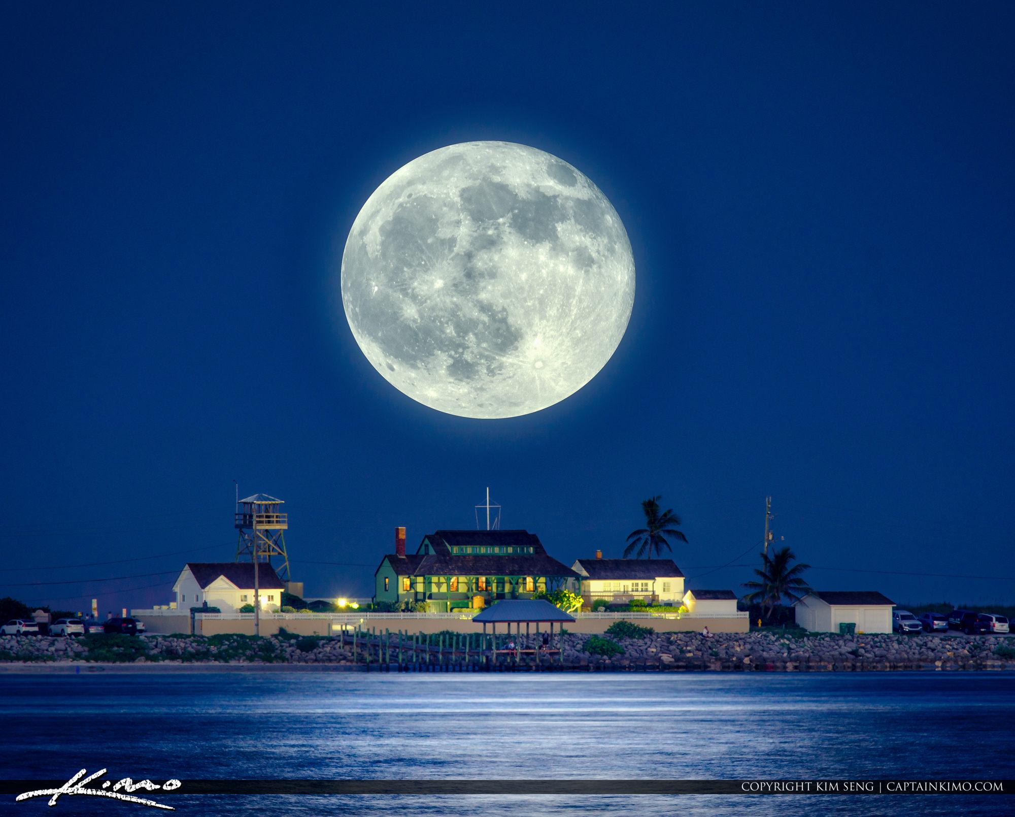 Full Moon Rising Over The House of Refuge Stuart Florida