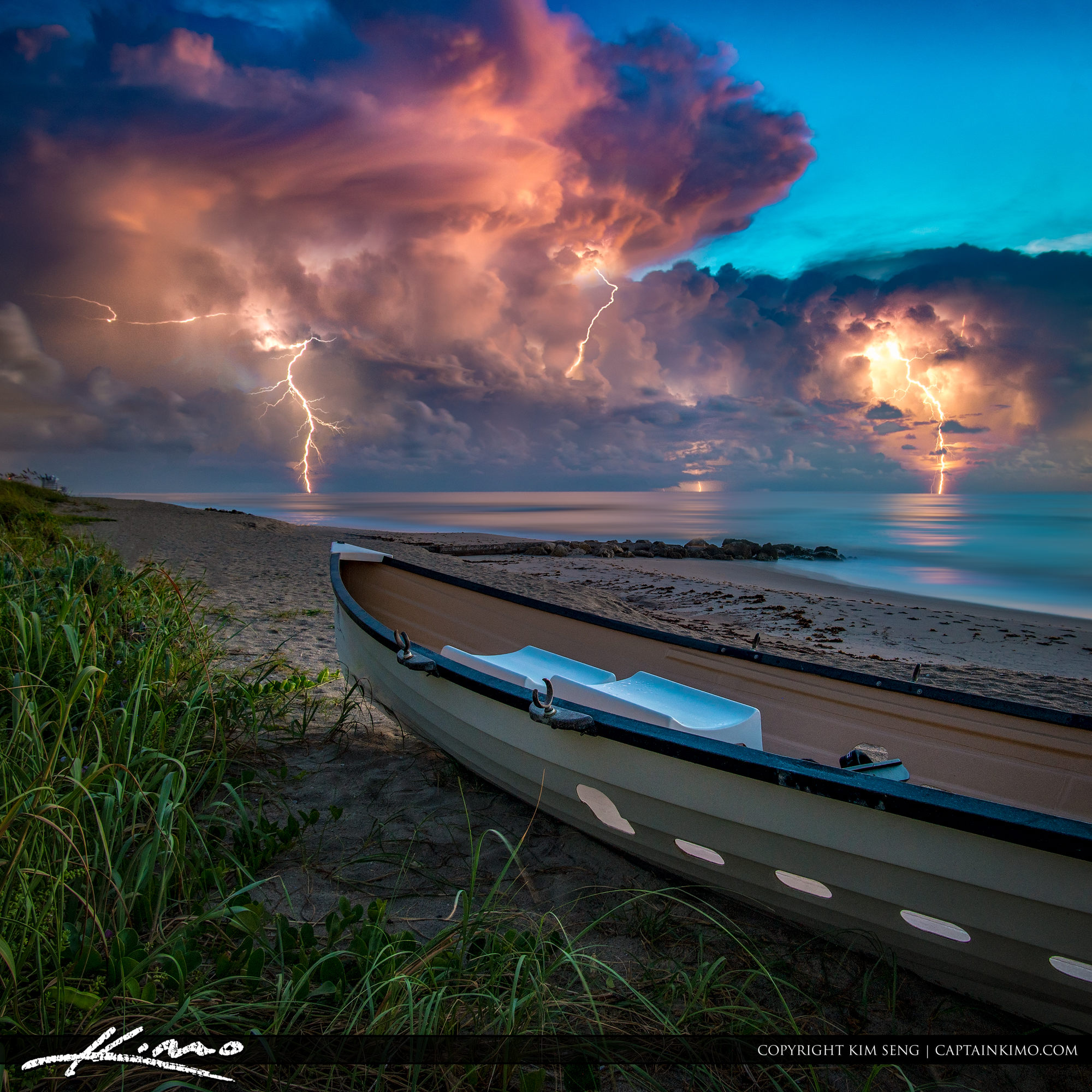 Lightning Storm Lifeguard Boat Palm Beach Island