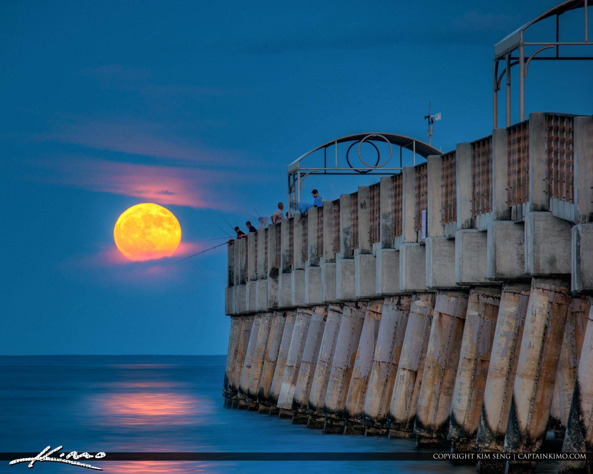 Full Harvest Moon Rise South Florida Lake Worth Pier