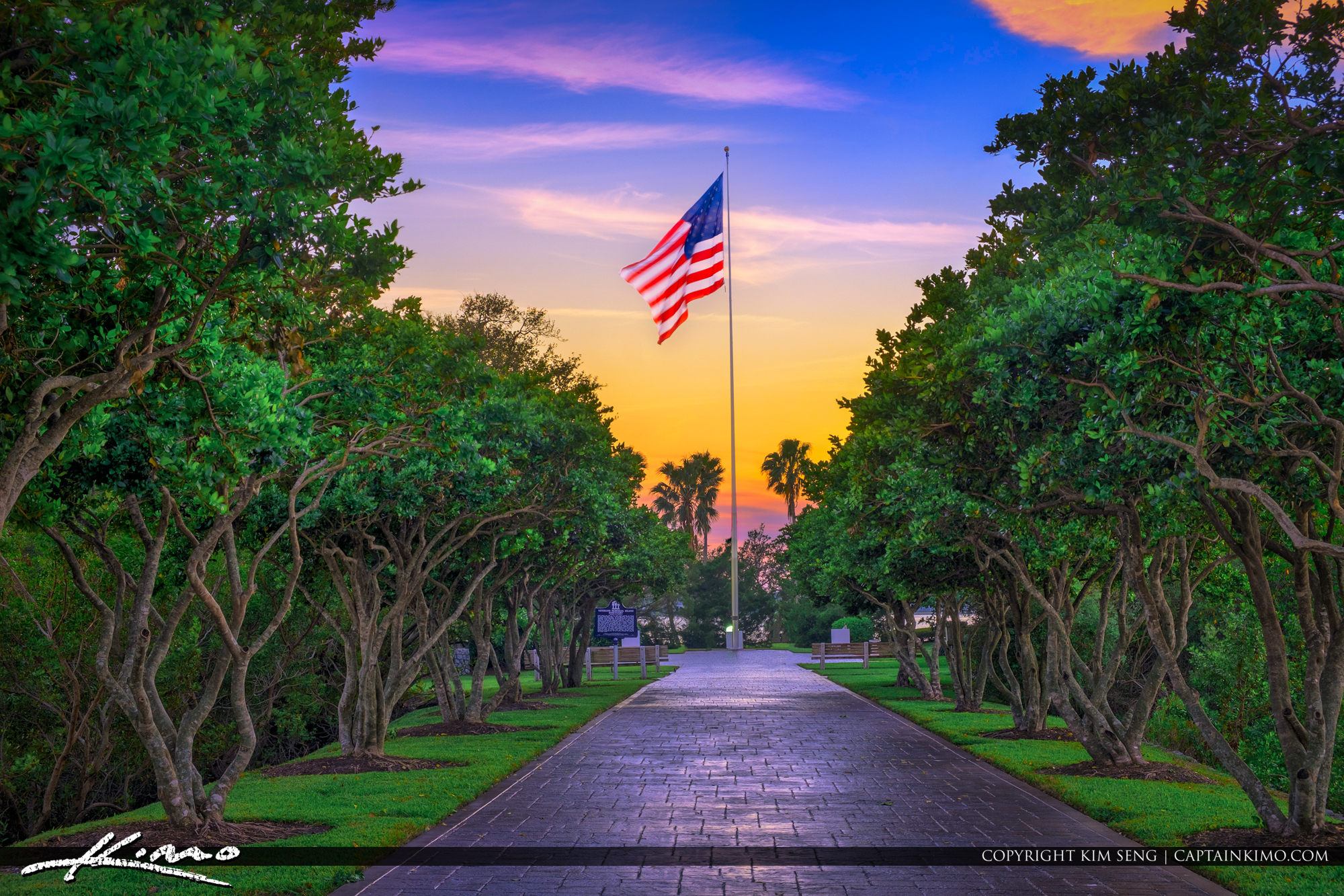 Veterans Memorial Island Sanctuary America Flag Vero Beach Florida