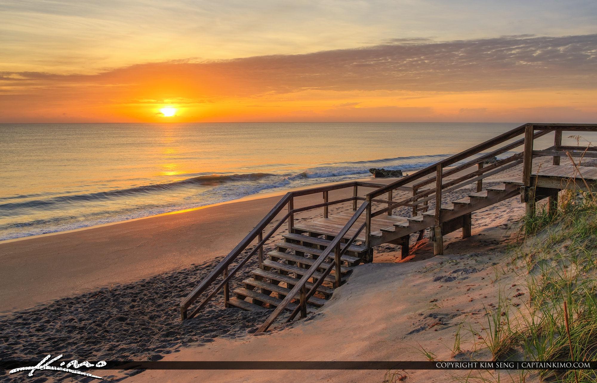 Beach Stairs Coral Cove Park Sunrise