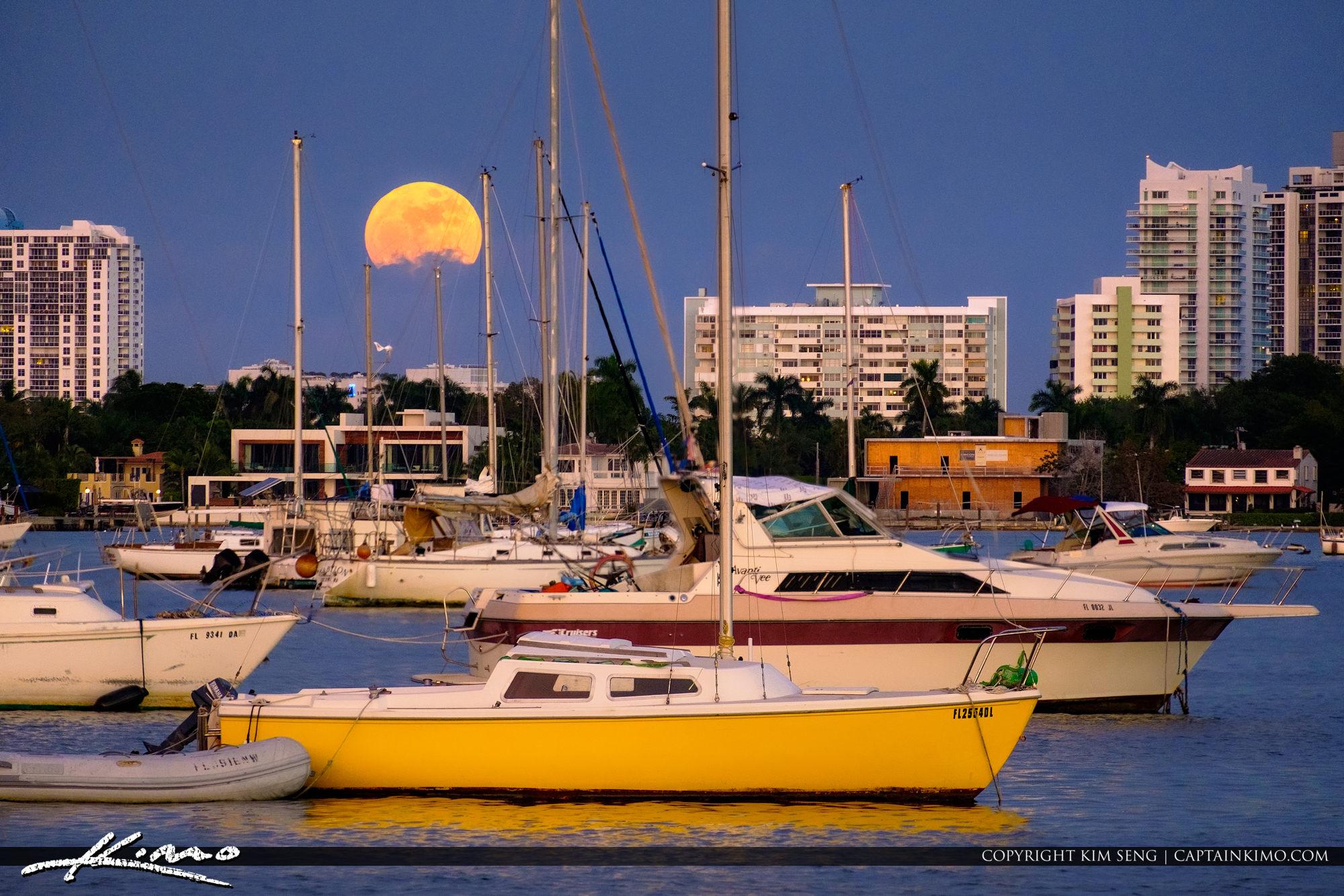 Moon Rise at Miami Florida Sailboats Star Island Watson Island
