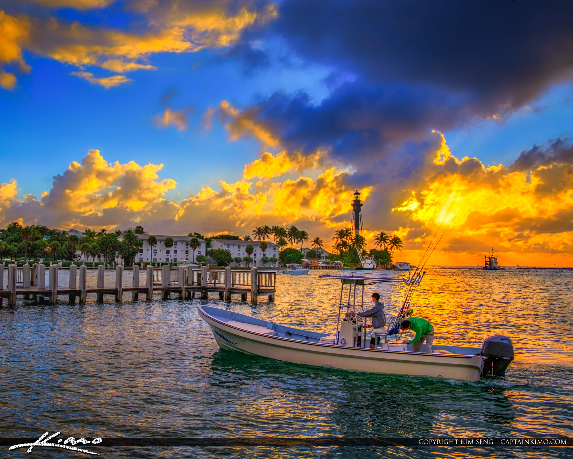Fishing Boat at Hillsboro Inlet Lighthouse Pompano Beach Square