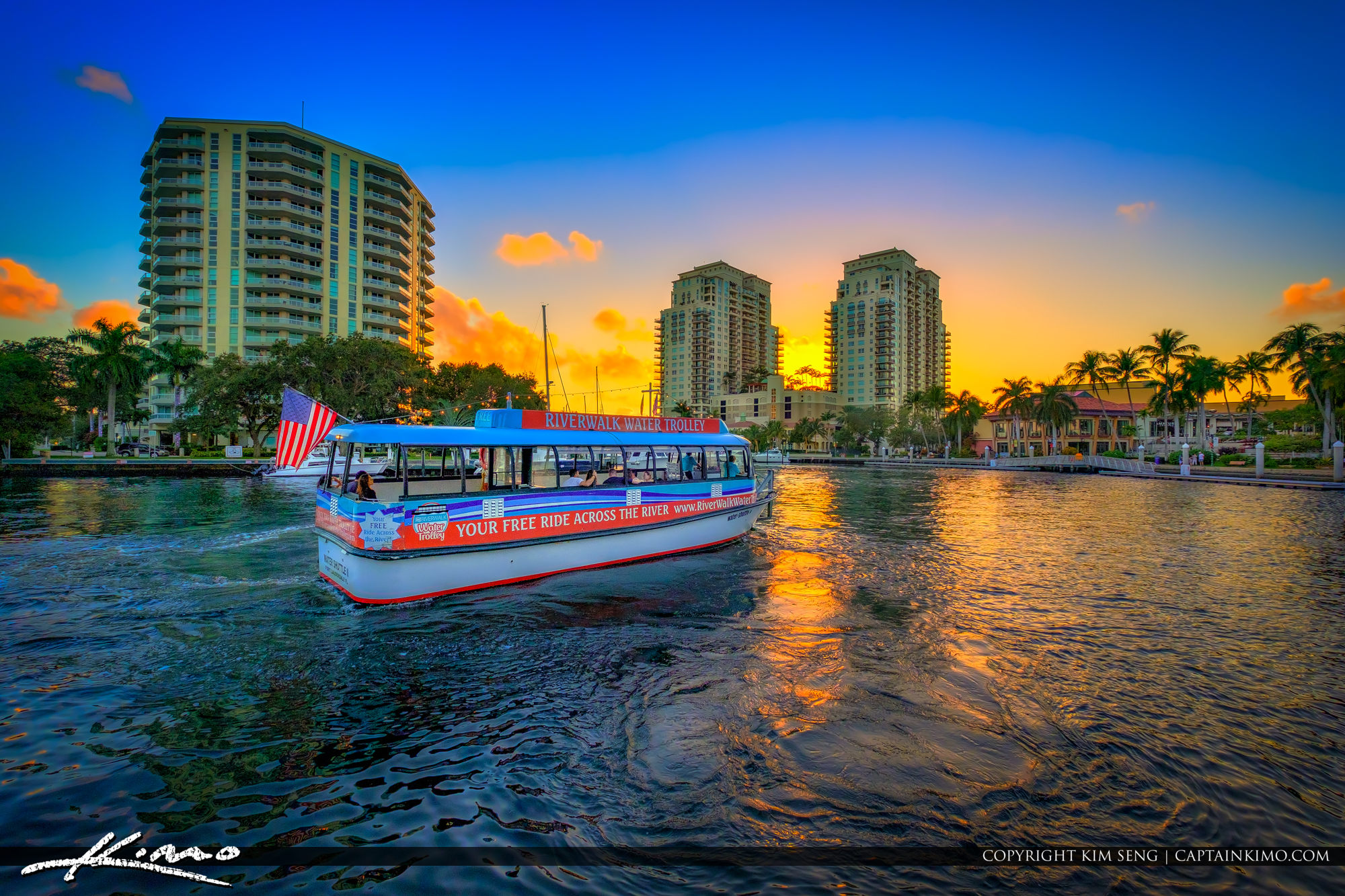 Riverwalk Water Trolley Sunset Fort Lauderdale Florida