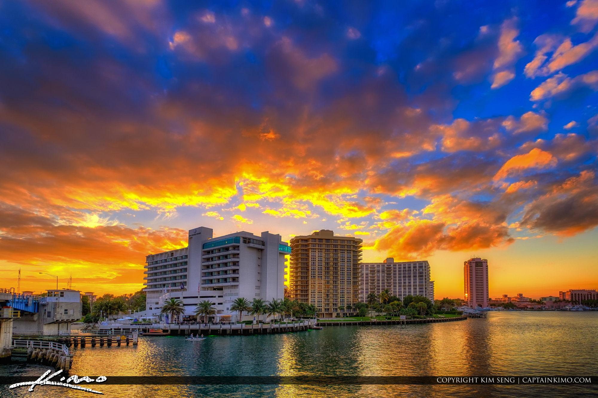 Waterstone Resort & Marina Boca Raton Sunset at Lake Boca Raton