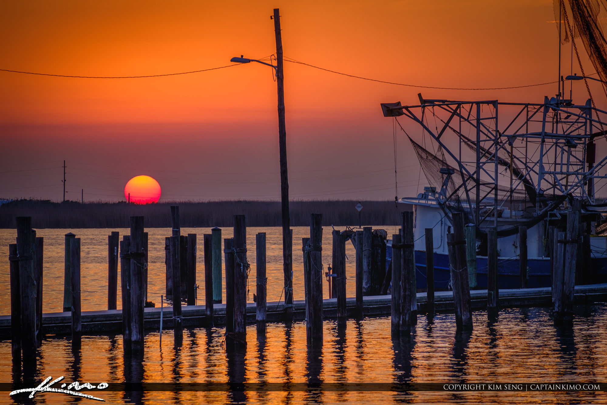Cajun Sunset down at the Bayou Buras Boat Harbour Louisiana