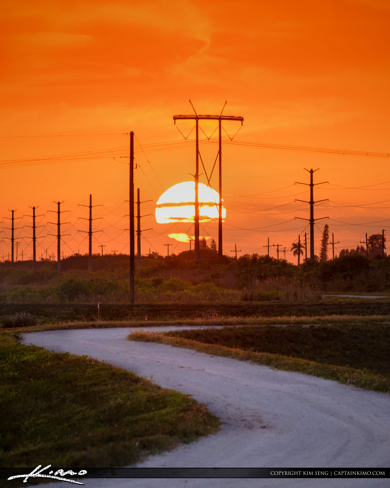 Sunset 20 Mile Bend Electric Poles at Wellington Palm beach Coun