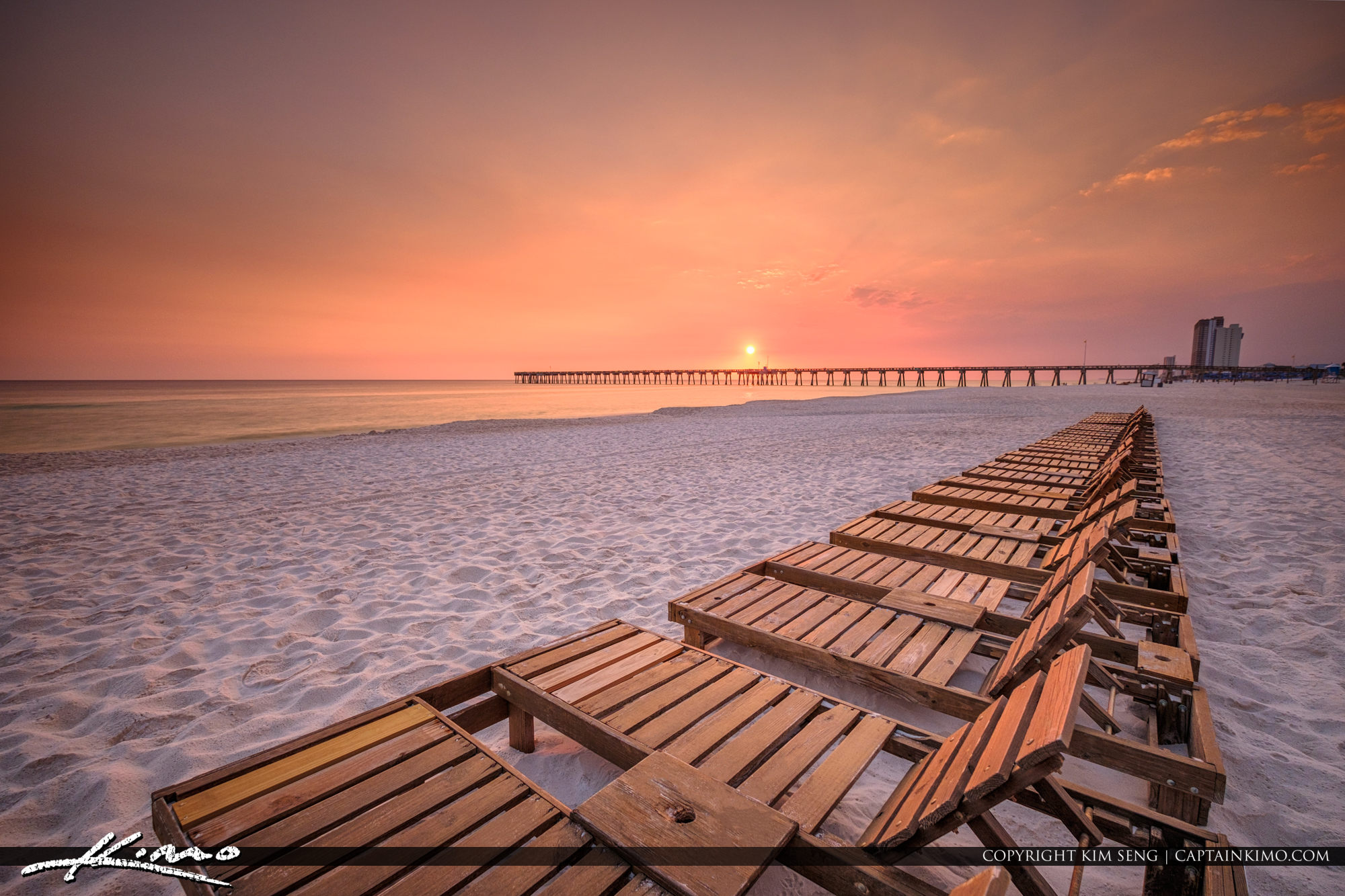 Sunset Over Russell-Fields Pier at Pier Park Panama City Beach Florida
