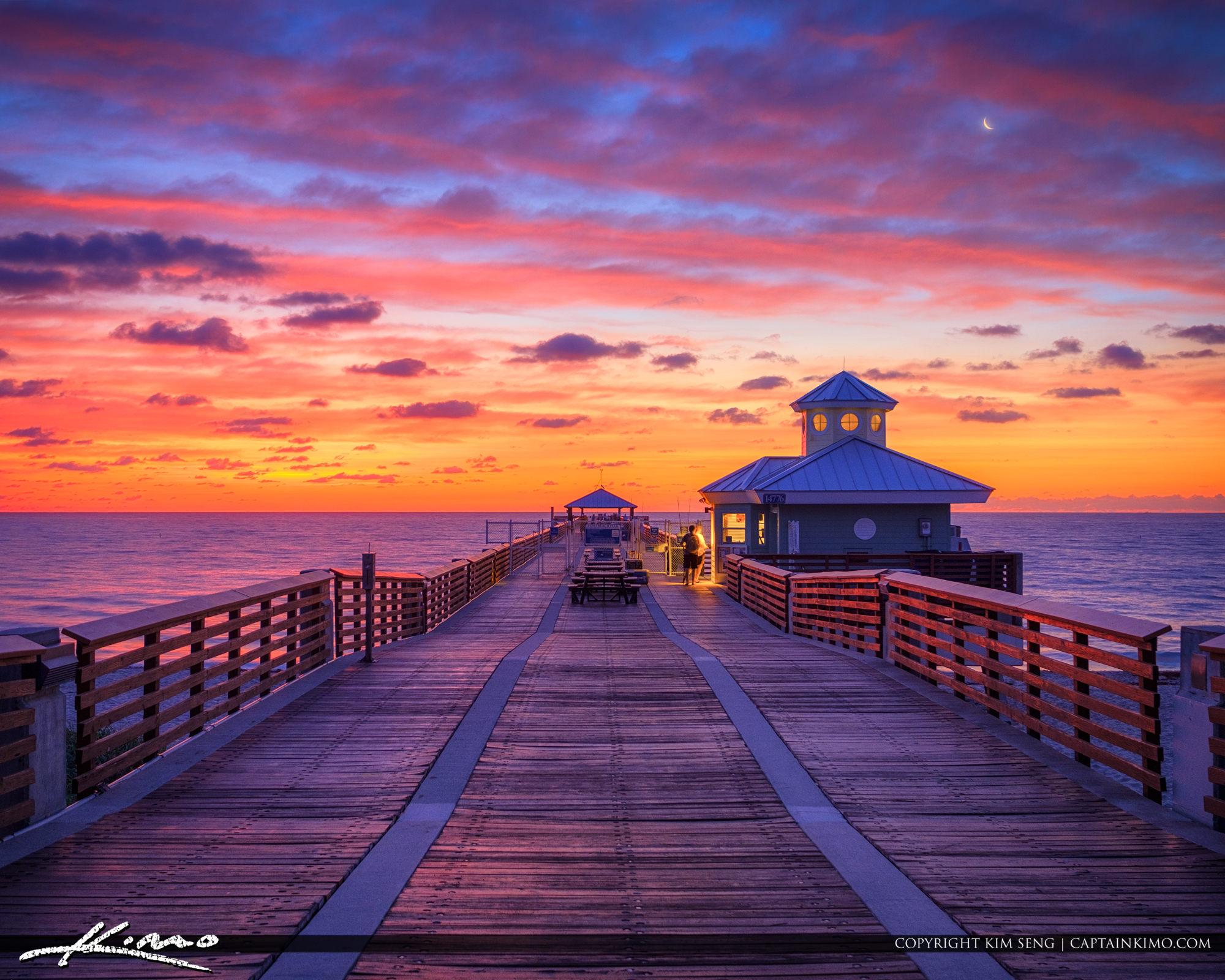 Juno Beach Pier Sunrise with Crescent Moon