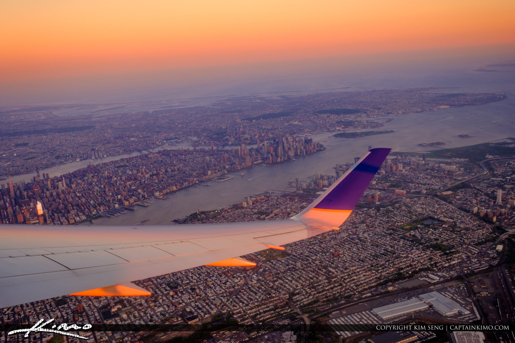 Airplane Wing Over New York City