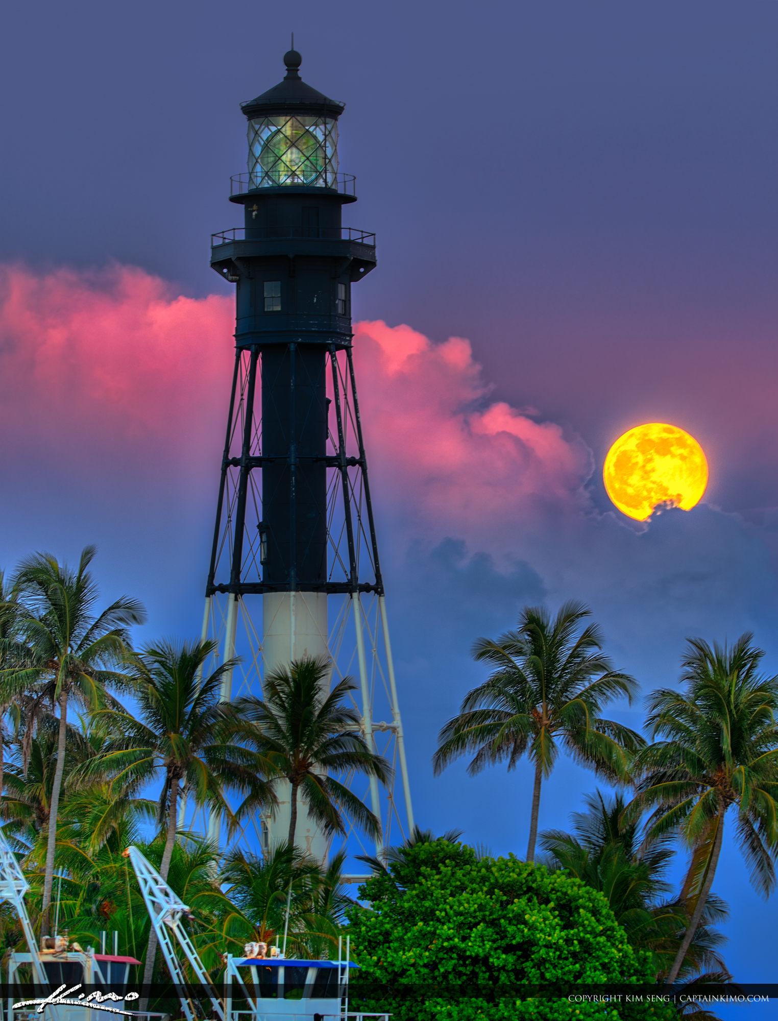 Full Moon Rise Hillsboro Inlet Lighthouse Pompano Beach Florida