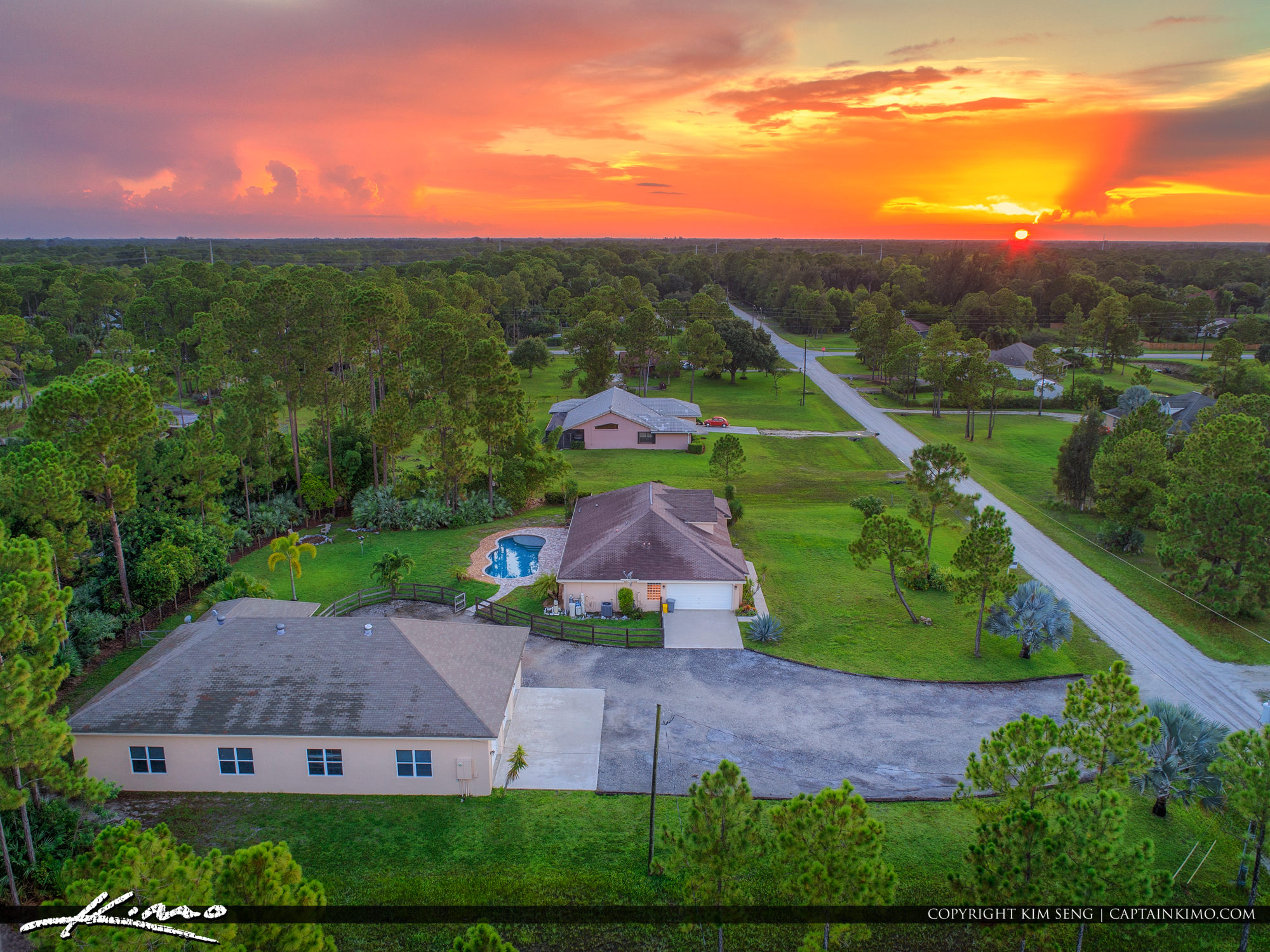 Loxahatchee Florida Sunset Over Real Estate Home Aerial Photo