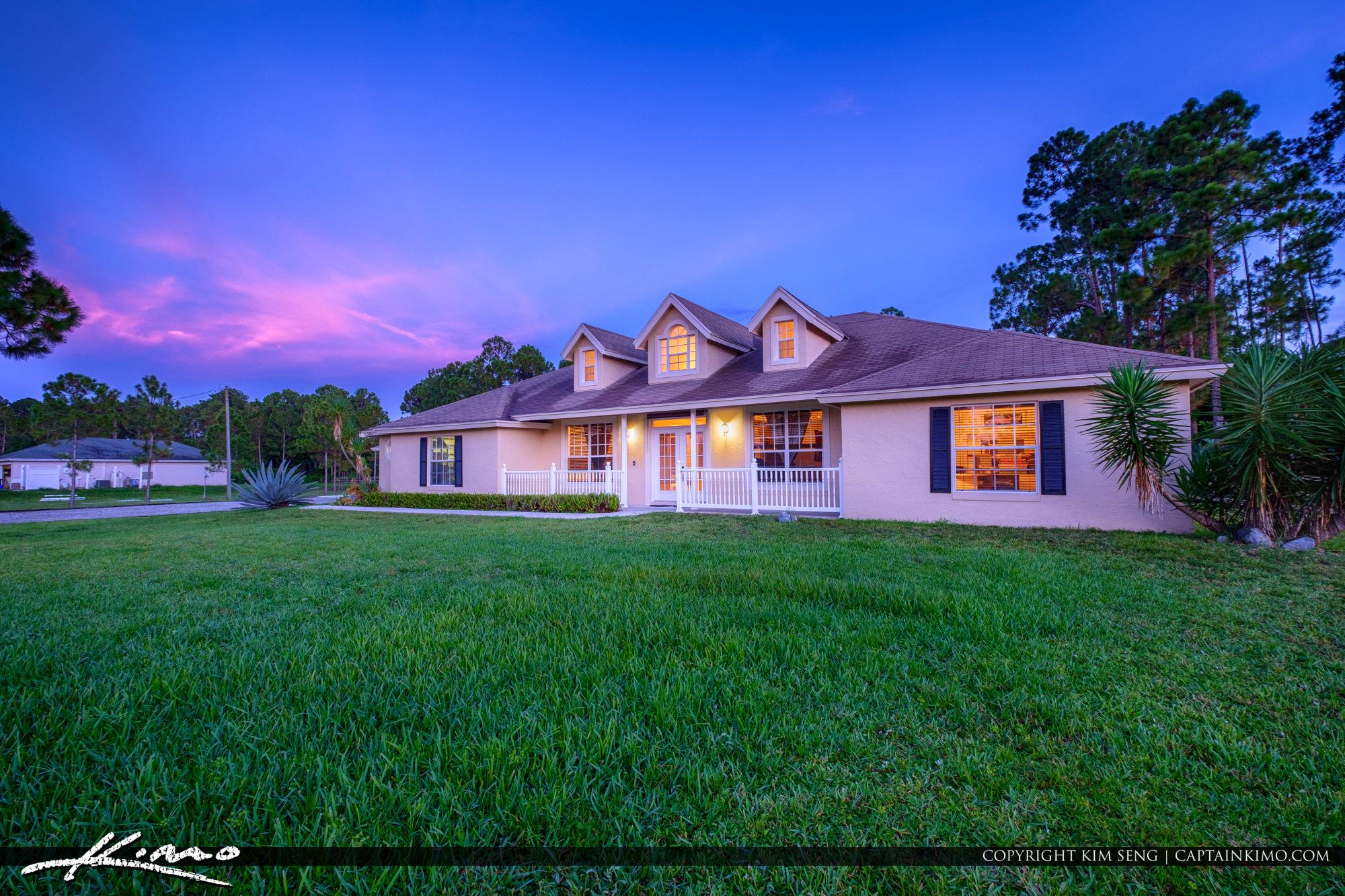 Real Estate Photography Loxahatchee Florida Twilight Front of Ho
