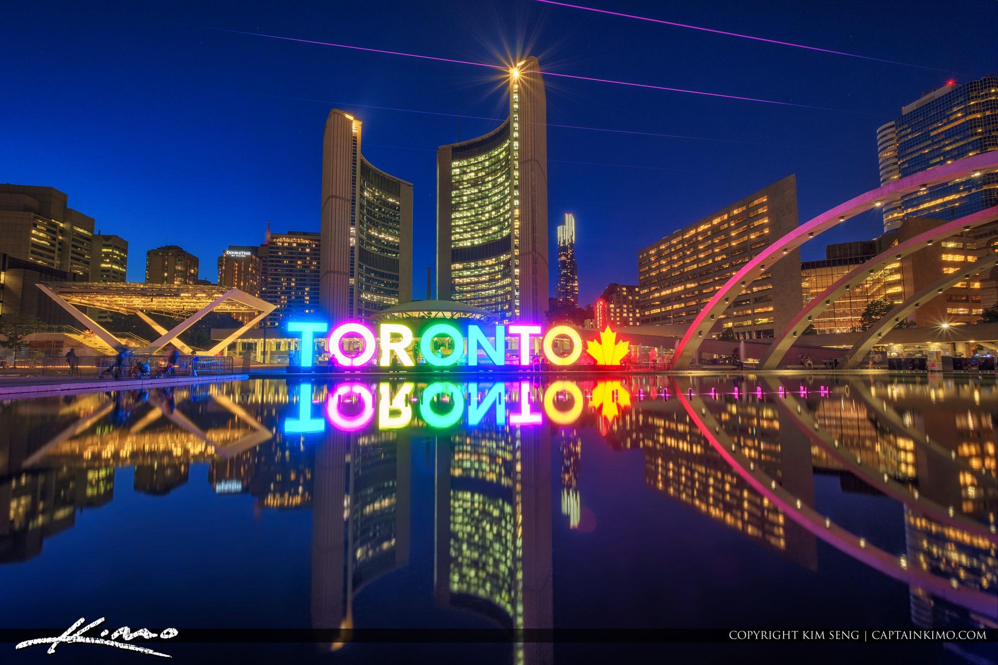 Toronto City Hall Night Lights Downtown Ontario Canada