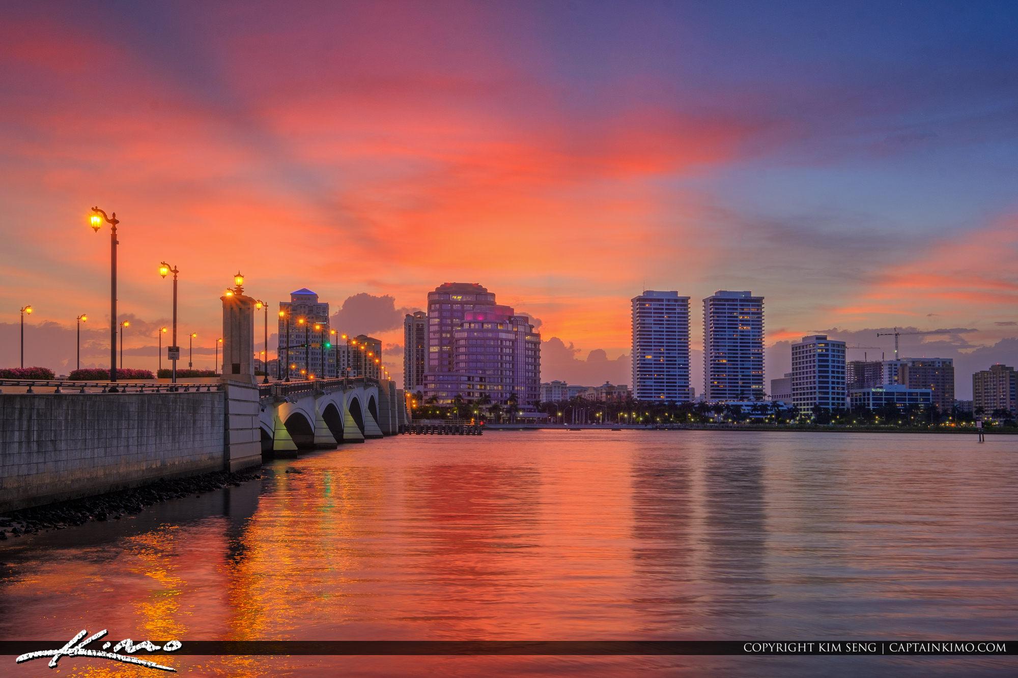 West Palm Beach Skyline Sunset Waterway