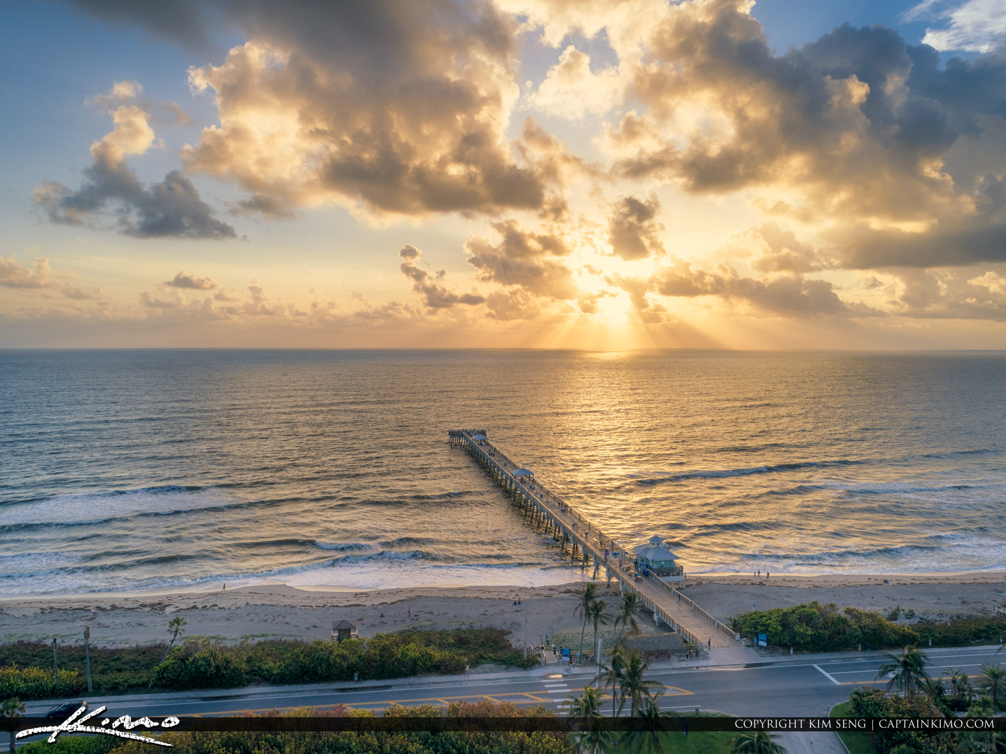 Aerial Beach Photo Sunrise from Juno Beach Pier