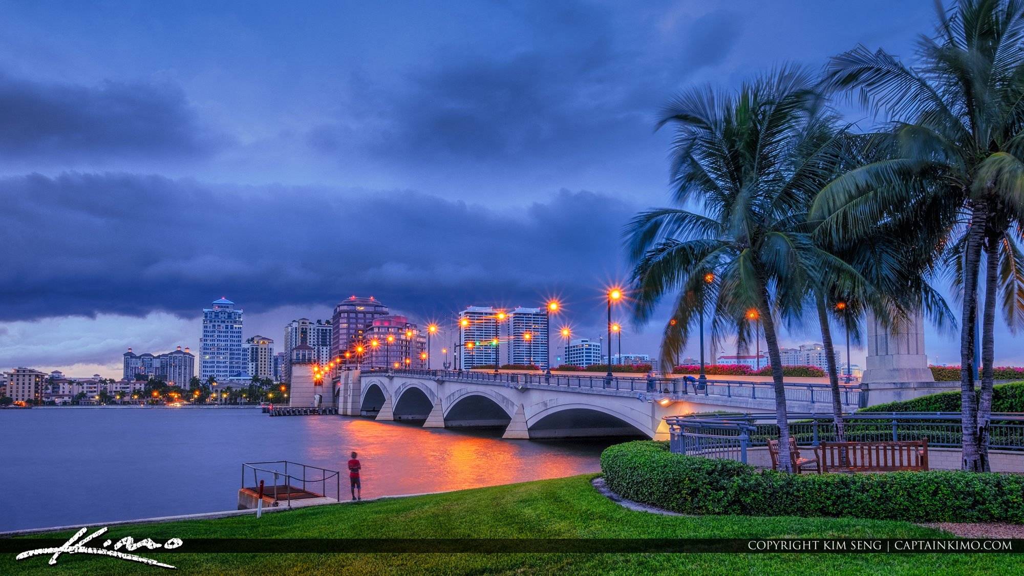 West Palm Beach Skyline Gloomy Clouds Over City