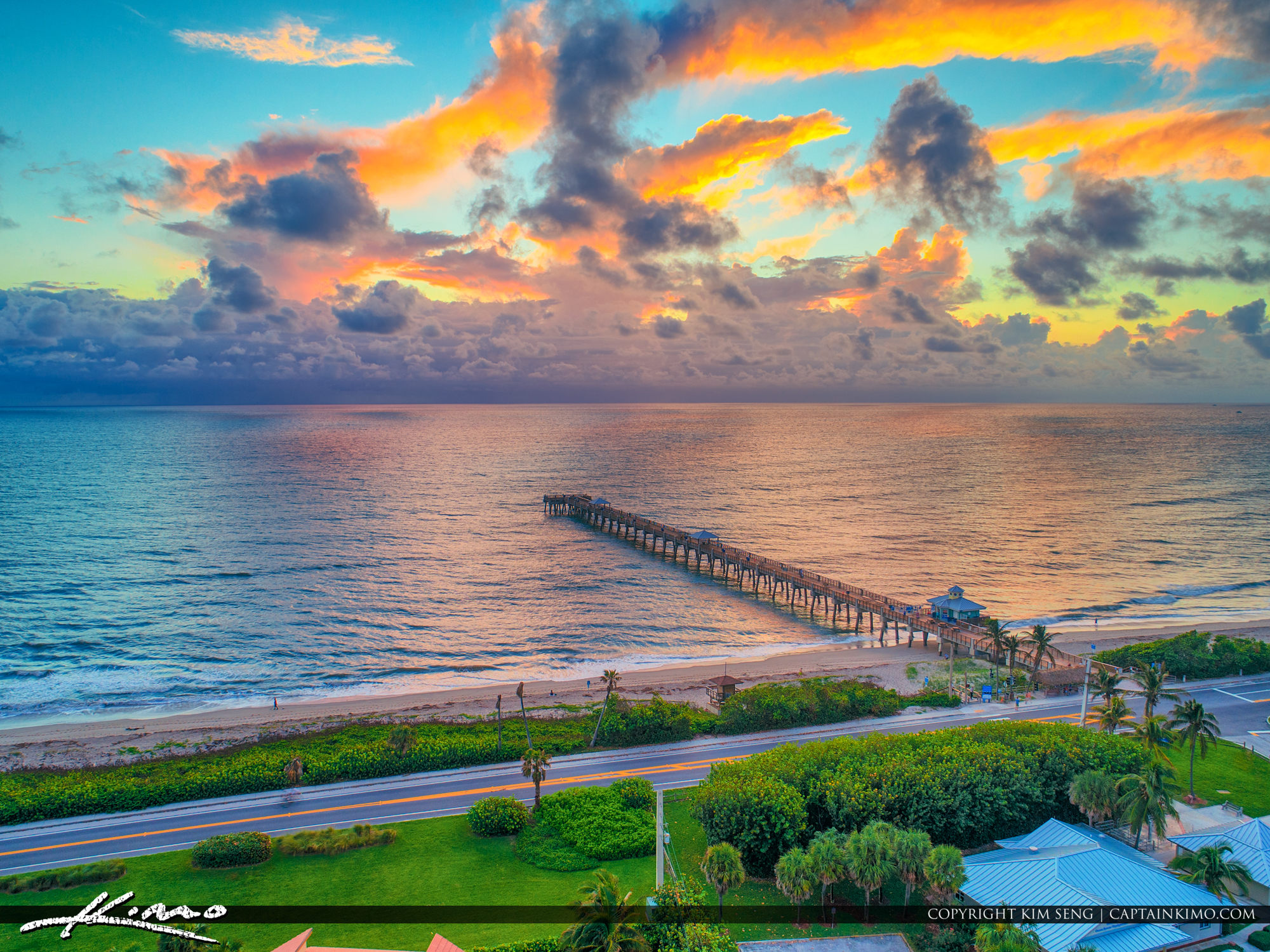 Juno Beach Pier Sunrise Storm at the Horizon Aerial