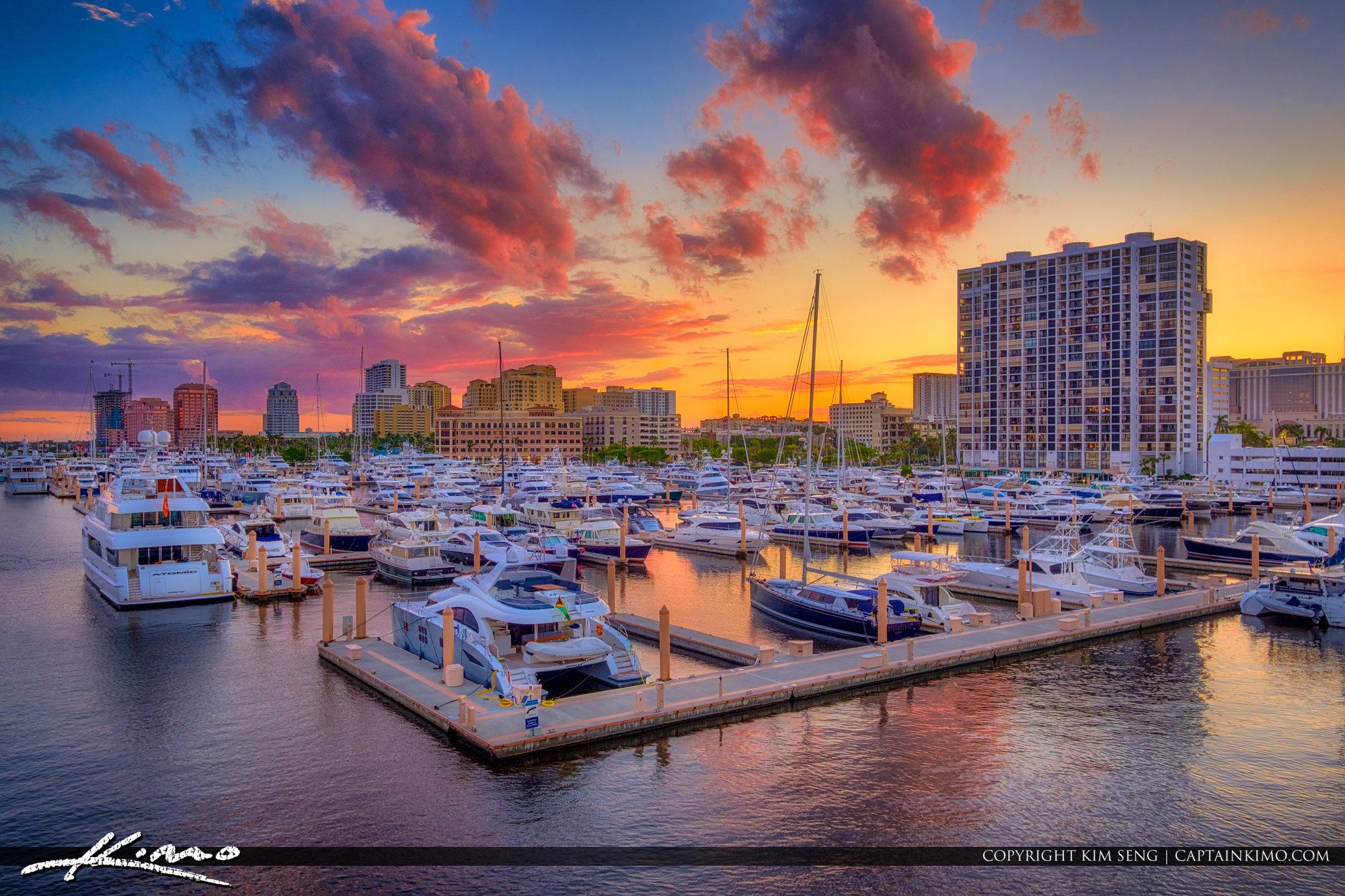 West Palm Beach Sunset Marina Skyline Flagler Bridge