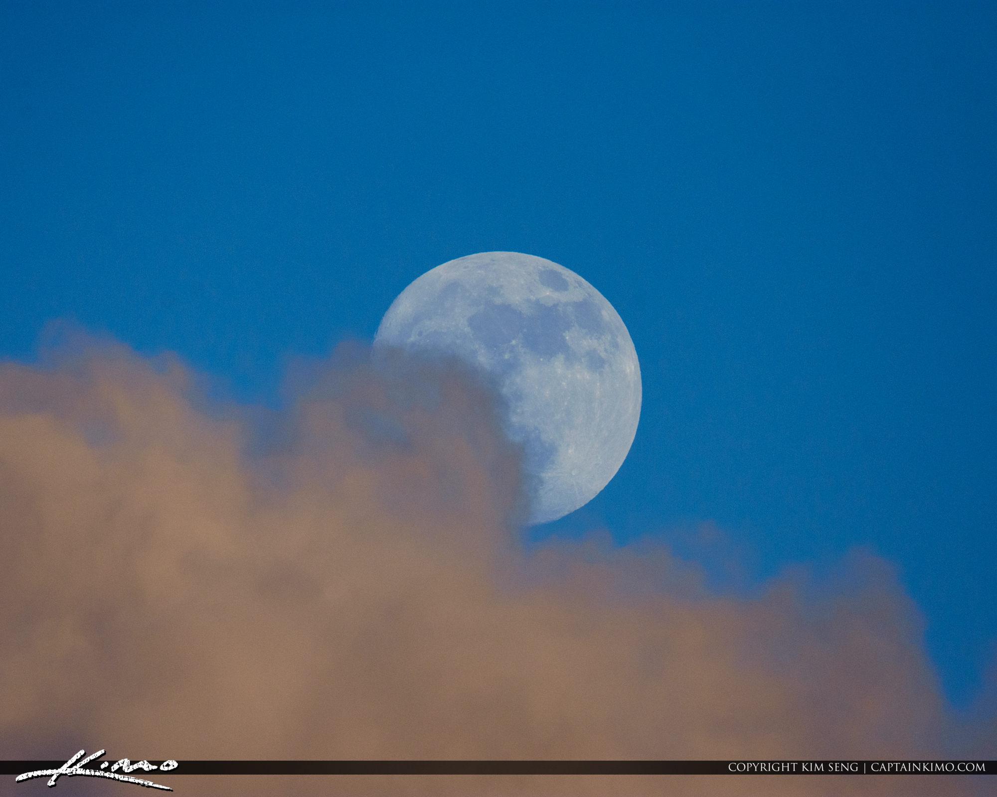 Full Moon Behind Cloud Florida
