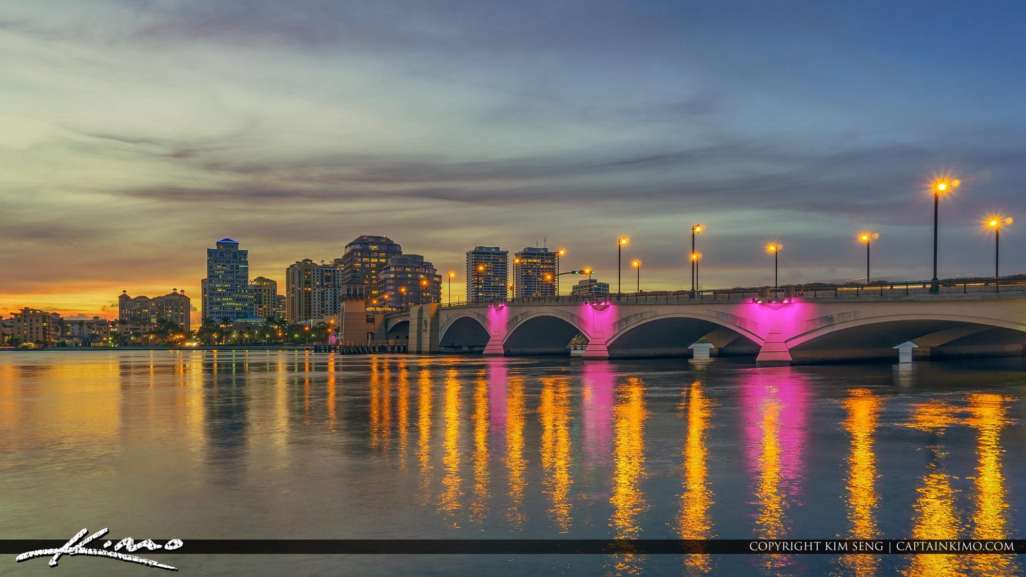 West Palm Beach Skyline After Sunset at Royal Park Bridge