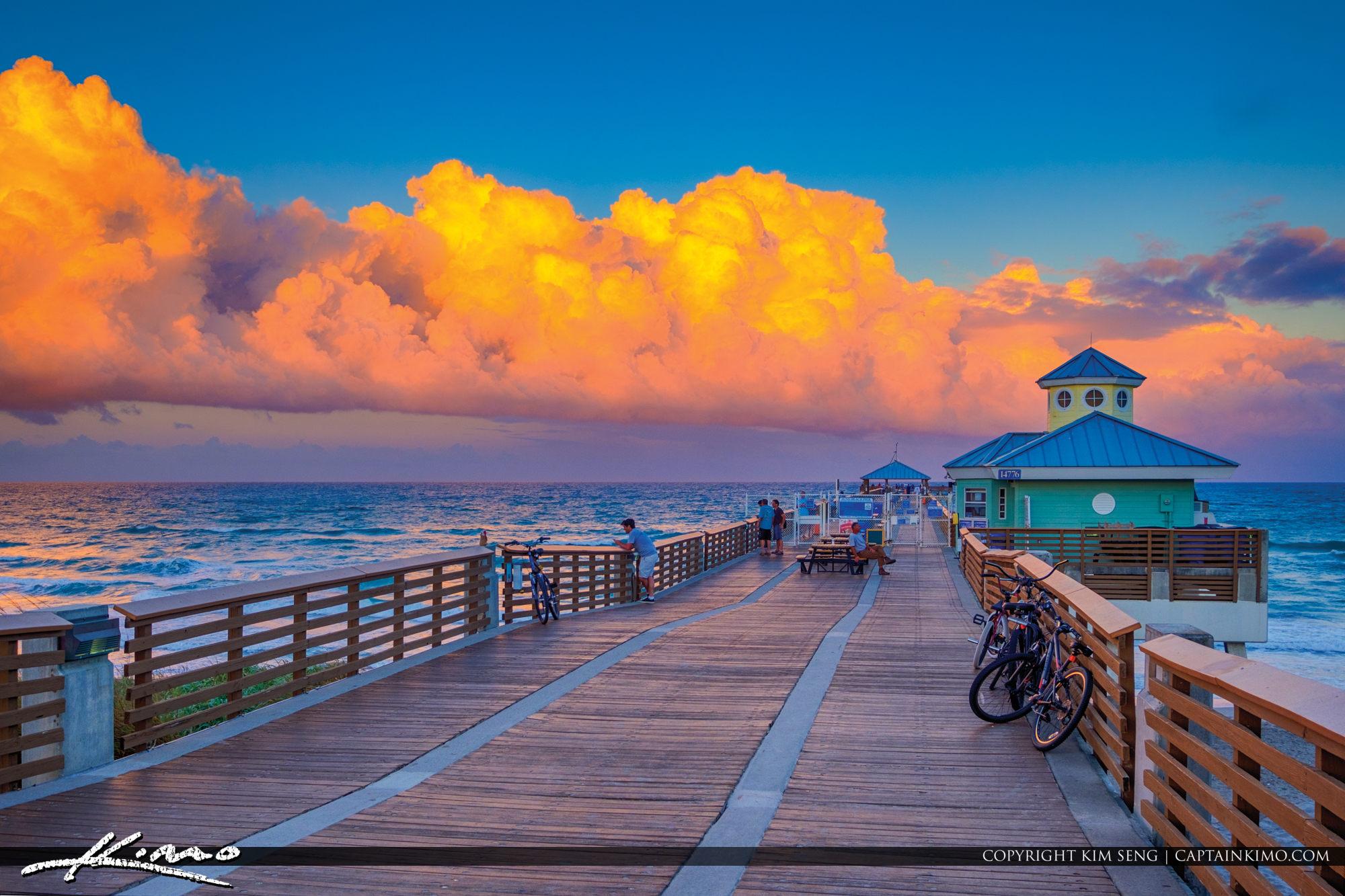 Juno Beach Pier Clouds Light Up at Sunset